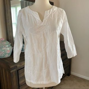 Allyson Whitmore embroidered paisley top Sz PM
